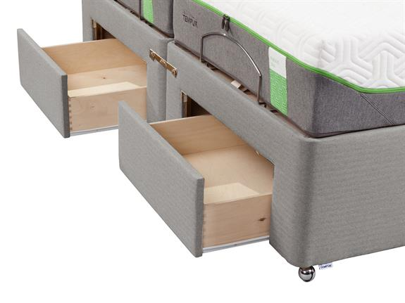 Tempur moulton king size adjustable divan base with foot for King size divan bed with drawers
